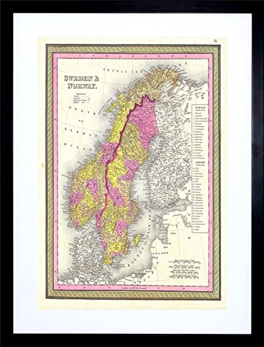 9x7 '' 1850 MITCHELL MAP SWEDEN AND NORWAY VINTAGE FRAMED ART PRINT (1850 Mitchell Map)