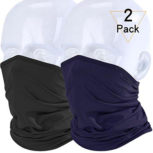 JIUSY 2 Pack - Lightweight Neck Gaiter Neck Warmer Face Mask