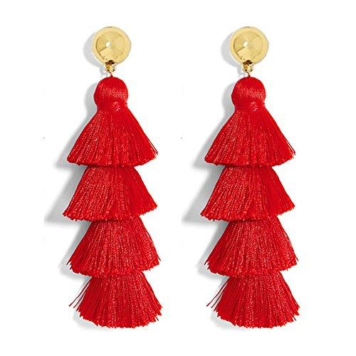 Fashion Jewelry 14k Gold/Tassels/Charming Pendants/Gems Drop Earrings (NewTassel-Red)