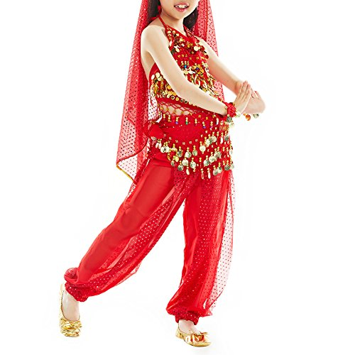[TopTie Kid's Belly Dance Girl Halter Top, Harem Pants, Halloween Costumes Set RED-M] (Genie Outfit)