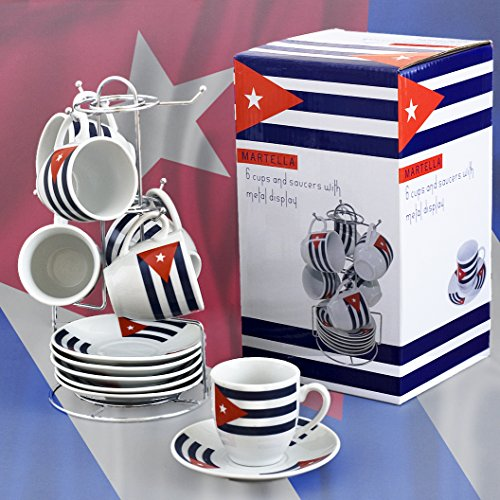 Espresso Cups Set with Metal Rack Cuban Flag on Cups & Saucers -