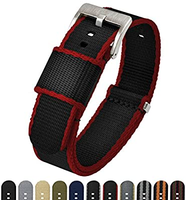 BARTON Jetson NATO Style Watch Strap - 18mm, 20mm, 22mm or 24mm - Seat Belt Nylon Watch Bands by Barton Watch Bands