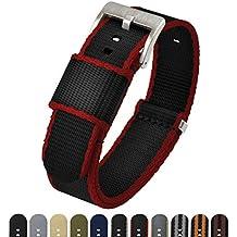 Barton Jetson NATO Style Watch Strap - 18mm 20mm 22mm or 24mm - Black/Crimson Red 24mm Nylon Watch Band
