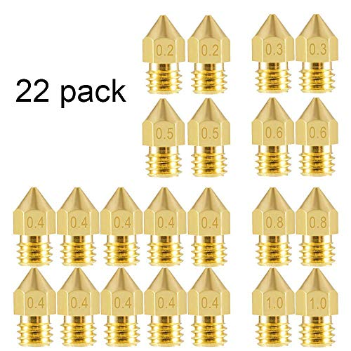 Aokin 22 Pieces 3D Printer Nozzles, MK8 Extruder Nozzle 0.2mm, 0.3mm, 0.4mm, 0.5mm, 0.6mm, 0.8mm, 1.0mm Extruder Print Head for 3D Printer Anet A8 Makerbot MK8 Creality CR-10 Ender 3