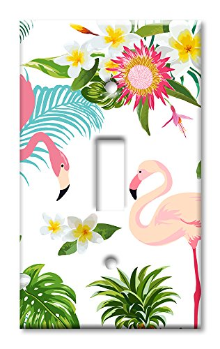 American Art Three Light (Art Plates Brand Single Toggle Switch / Wall Plate - Flamingos)