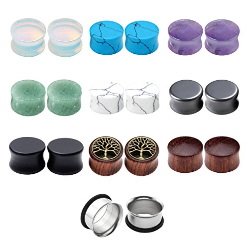 Jovivi 20pcs Ear Stretching Kit Wood Natural Stones Double Flared Saddle Ear Plugs Stretcher Expander Flesh Tunnels Gauges 0g-5/8