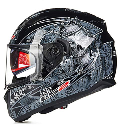 LS2 Stream Solid Full Face Motorcycle Helmet Adult Man Women Dual Visor (Monster, XL)