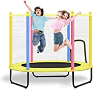CLORIS Large Foldable Mini Trampoline for Kids with Enclosure Net 55in-Load 450lbs