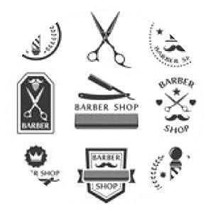 alfombrilla de ratón Logotipo de la tienda de barbero, etiquetas, escudos de la vendimia - ronda - 20cm