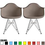 2xhome Set of 2 Grey Mid Century Modern Vintage Designer Molded Shell Plastic Armchair with Arms Back Chrome Wire Metal Base Eiffel Dining Chairs Living Room Accent Dowel Office Guest Work Desk DAR For Sale