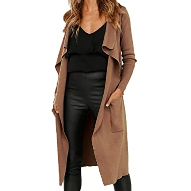 promo code 598c9 f06ad BaZhaHei Damen Mantel Frauen Langarm Leder Open Front Short Cardigan Anzug  Jacke Solid Long Coat Tasche Einfarbig Revers Faux Wildleder Strickjacke ...