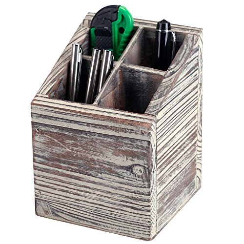 Rustic Torched Wood 4 Slot Pen Pencil Holder, Square Desktop Office Supply Storage Box