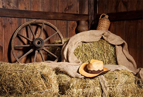 Yeele 10x8ft Old Barn Background for Photography Western Cowboy Hat Hay Straw Wheel Backdrop Kid Adult Photo Booth Shoot Vinyl Studio Props ()