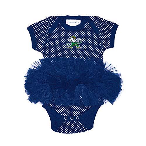 Two Feet Ahead Notre Dame Fighting Irish Newborn Infant Polka Dot Tutu Creeper Bodysuit (12 Months)