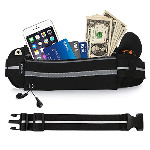 (UShake Gear Running Belt with Extender, Bounce Free Pouch Bag, Fanny Pack Workout Belt Sports Waist Pack Belt Pouch for Apple iPhone XR XS 8 X 7+ Samsung Note Galaxy in Running Walking Cycling Gym-01)