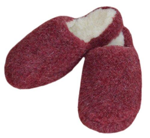 SamWo Schafwoll-Wohlfühl-Hausschuhe/Pantoffeln,Weiche Rutschfeste Sohle,100% Schafwolle SWH 39-40 | Weinrot