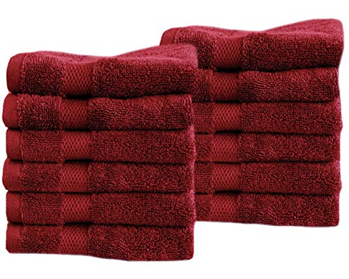Cotton & Calm Exquisitely Fluffy Washcloths/Face Cloths Towel Set (12 Pack, 13 x 13), Premium Cranberry/Burgundy Washcloths - Super Soft, Thick, and Absorbent for Face, Hand, Spa & Gym
