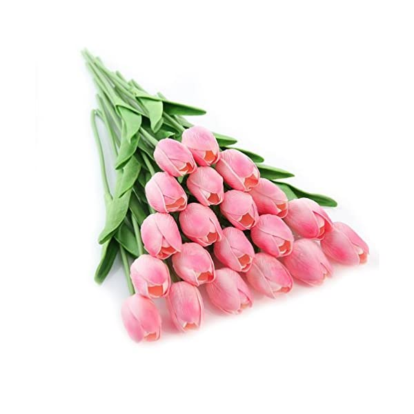 KayMayn 20pcs Artificial Tulip Flower Fake Flowers Bouquet Silk Tulip Real Touch,for Wedding Bouquet Decor or Home Room or Birthday Garden Party Floral Decor(Pink 20pcs)