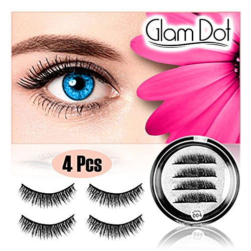- Natural Magnetic Eyelashes (4 Piece/1 Pair) No Glue No Mess - Premium Handmade Dual Magnet False Eye Lashes -Easy To Apply Quality 3D Reusable Full Fake Eyelash Extension Set