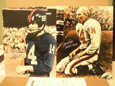 (YA TITTLE LOT OF 2 HAND SIGNED 11x14 LARGE PHOTOS FOOTBALL LEGEND PSA)