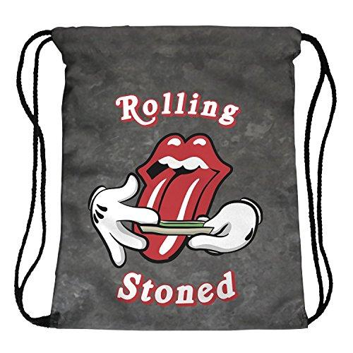 Beutel Turnbeute Rolling Stoned Beuteltasche Hipster Bag Gymsack Festival Stones Tasche Weed Kush