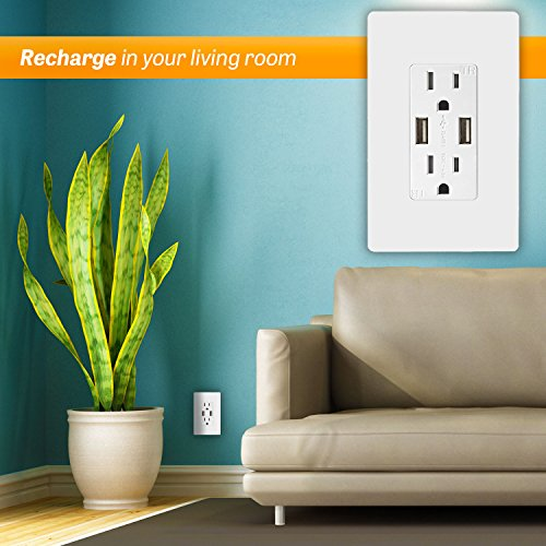 TOPGREENER TU2154A High Speed USB Charger Outlet, USB Wall Charger, Electrical Outlet with USB, 15A TR Receptacle, Screwless Wall Plate, for iPhone X, iPhone 8/8 Plus, Samsung Galaxy and more, White by TOPGREENER (Image #5)