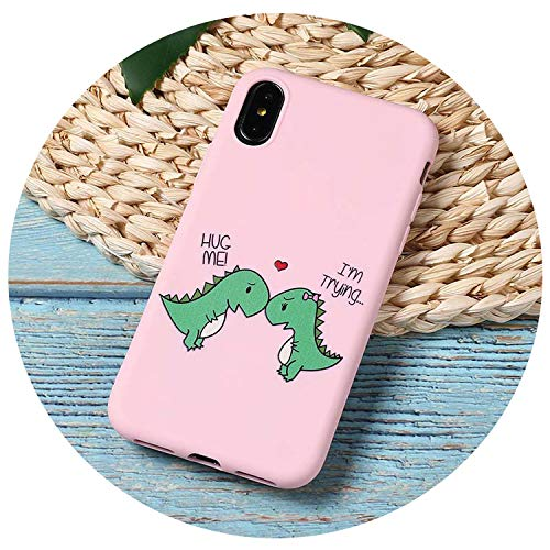 Cute Cartoon Dinosaur Patterned TPU Silicone Frosted Matte Soft Case Capas Cover for iPhone 5 5Se 7 7Plus 8 X Xs Max,5,for iPhone 6 6S