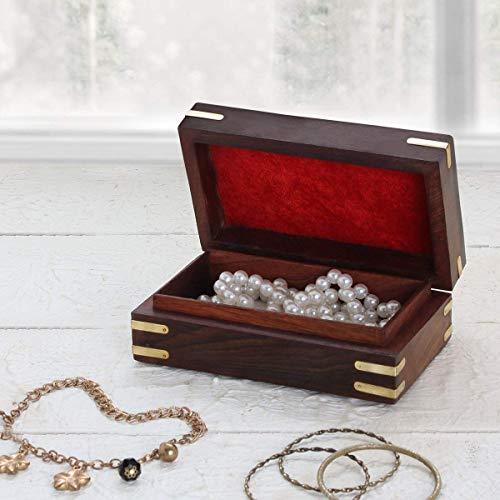 (Jewelry Keepsake Box Organizer Storage Trinket Treasure Chest Antique Box for Women Girls Him Her Decorative Hand Carved Ring Necklace Holder Home Decor)