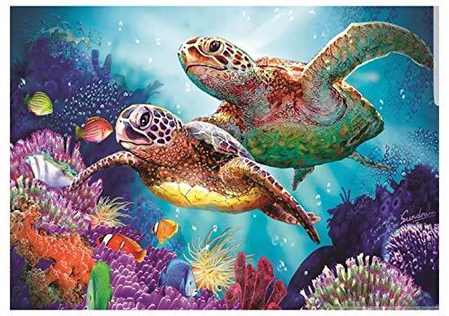 Hrank 5D DIY Diamond Painting,Full Drill Rhinestone Arts Craft for Home Wall Decor,sea Turtle,Size:30X40CM/12X16inch
