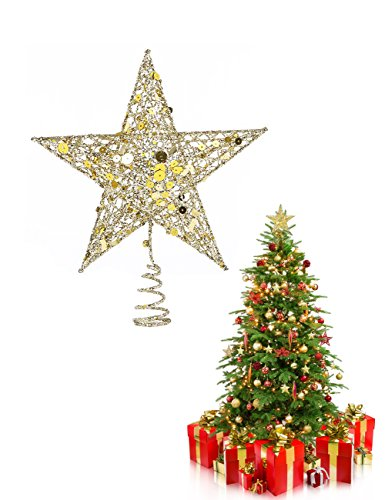 - Youniker Christmas Star Tree Topper - Exquisite Metal 5 Point Star Christmas Tree Topper 9 x 8 Inches Shimmery Treetop Star Fit for General Size Christmas Tree Ornament (Gold)