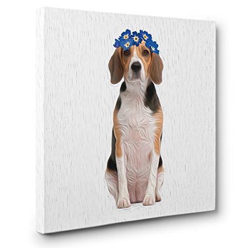 Dog Beagle In Flower Crown CANVAS Wall Art Home Décor