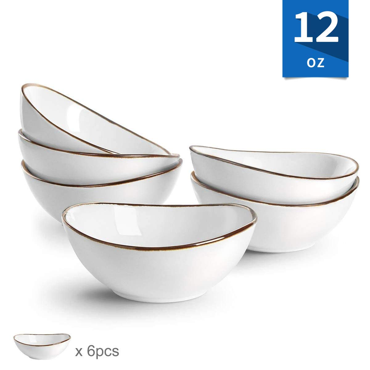 Porcelain Bowls Dessert Cereal Salad Bowl Set Microwave Safe, 6-inch/12 oz Set of 6,White GO KITCHEN