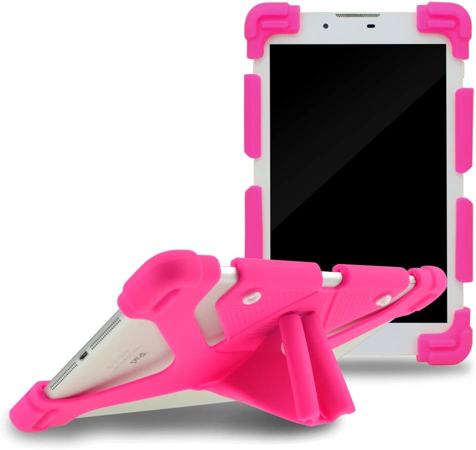"""Sinbadteck Universal 7-8"""" Shockproof Silicone Cover Case Stand for RCA 7"""" Voyager II/1st Gen,iPad Mini,Kindle,Q8,Galaxy Tab,Verizon Asus Google Dragon Touch &Other 7-8inch Tablets(7-8"""", Hot Pink)"""