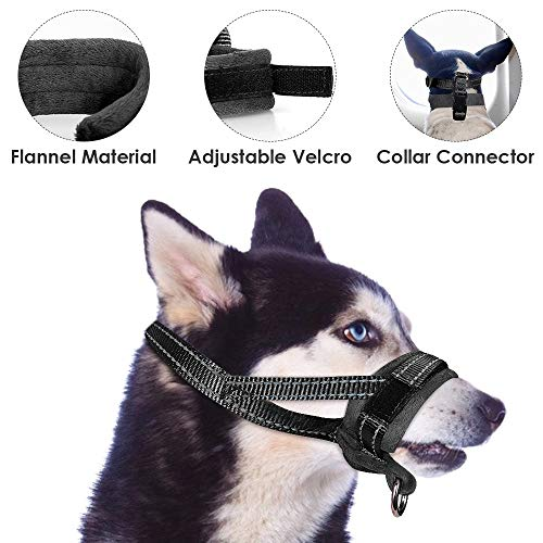 - SlowTon Nylon Dog Muzzle, Dog Mouth Cover Adjustable Soft Padded Quick Fit Comfortable Muzzles for Medium Large Dog Outdoor Anti Biting Behavior Training Stop Chewing Barking Attach to Collar (L, B)