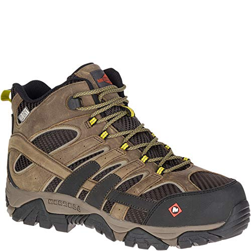 Merrell Men's Moab 2 Vent Mid Waterproof Composite Toe Work Boots Wide Width Boulder 10.5 W