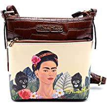 Authentic Frida Kahlo Jungle Series Cross Body Messenger- Brown
