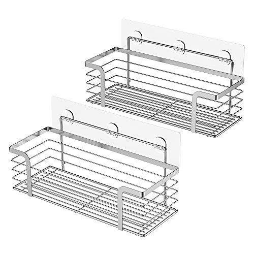 Oriware Adhesive Shower Caddy Organiser Basket Bathroom Shelf Storage Wall  Mounted SUS304 Stainless Steel No Drilling - 2 Pack