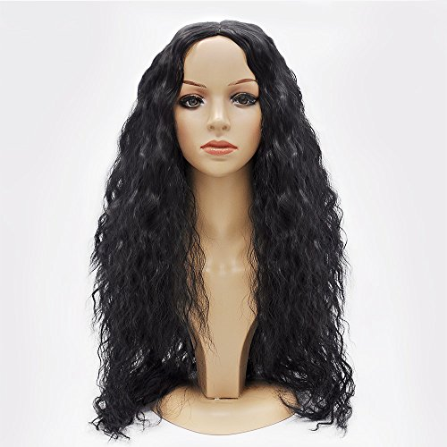 "Search : Jollyvogue 24"" Natural Black African American Curly Hair None Lace Glueless Synthetic Wig with Natural Hairline For Black Women"