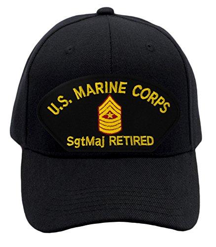 Patchtown USMC - Sergeant Major Retired Hat/Ballcap Adjustable One Size Fits Most (Black, Standard (No Flag))