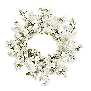 "Nearly Natural 24"" Cherry Blossom Wreath White 96"