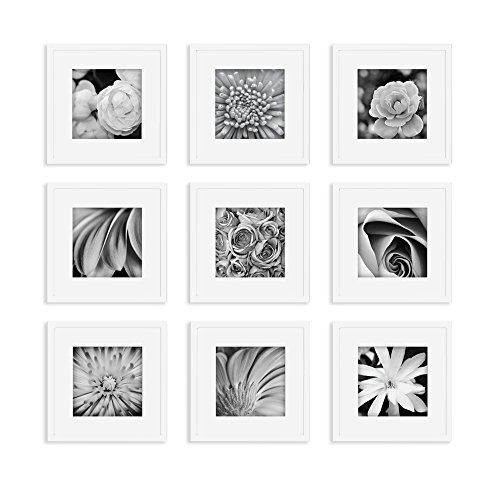 Gallery Perfect 9 Piece White Square Photo Frame Wall Gallery Kit #16FW1004. Includes: Frames, Hanging Wall Template, Decorative Art Prints and Hanging Hardware