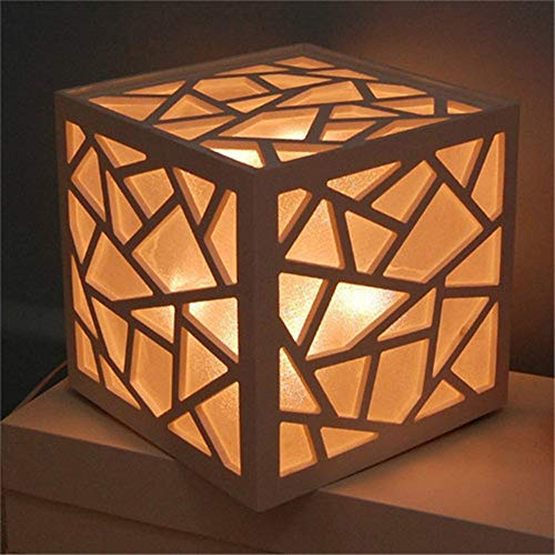 (Studio Lamp Lighting Environmental Safety Wood White Table Lamp Wood Carving Square Fire Waterproof Night Light)