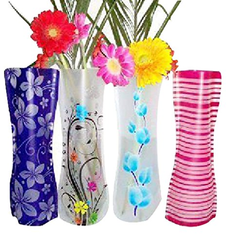 FZSH 10pieces/lot MIX Styles Folding Vase and Colors Home Decoration Plastic Folding Flower Vase