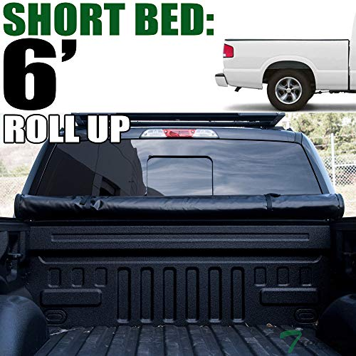 Topline Autopart Lock Roll Up Soft Vinyl Truck Bed Tonneau Cover For 82-93 Chevy S10 ; 82-90 GMC S15 ; 91-93 GMC Sonoma 6 Feet (72