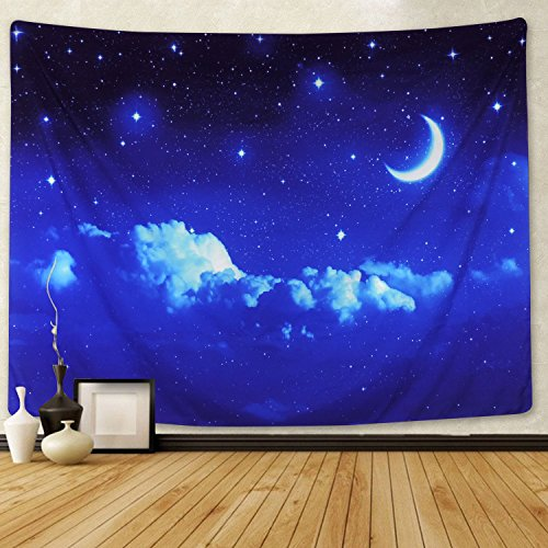 Moon and Stars Tapestry Wall Hanging White Cloud Tapestry Blue Starry Tapestry Galaxy Tapestry Universe Night Sky Wall Tapestry Space Decor Tapestry for Bedroom Living Room Dorm Room (L, 6#moon star) for $<!--$15.91-->
