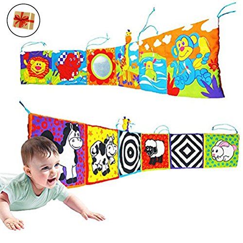 BabyPrice (Send a Free Gift) Infant Kid Baby Crib Bumper Pads Gallery High-Contrast Development Puzzle Zoo Cloth Book Toy