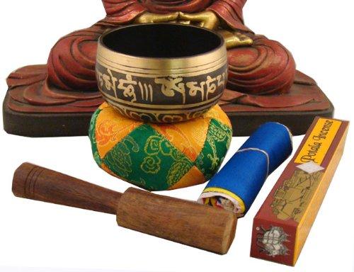 Tibetan Palm Size MEDITATION Om Mani SINGING BOWL / Cushion / Leather Wrapped Mallet / Prayer Flag and Incense Set
