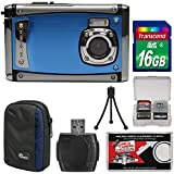 Bell & Howell Splash3 WP20 HD Shock & Waterproof Digital Camera (Blue) with 16GB Card + Case + Reader + Tripod + Kit