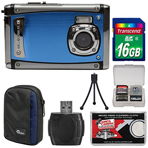 Bell & Howell Splash3 WP20 HD Shock & Waterproof Digital Camera (Blue) with 16GB Card + Case + Reader + Tripod + Kit by Bell + Howell