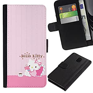 Samsung Galaxy Note 3 III N9000 N9002 N9005 , la tarjeta de Crédito Slots PU Funda de cuero Monedero caso cubierta de piel (Pink Hello Cat Cute)